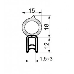 Tractor cab seal with sealing profile 22 mm and clamp profile 11 mm.