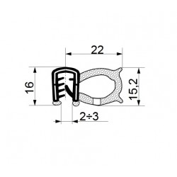 Tractor cab seal with sealing profile 22 mm and clamp profile 16 mm.