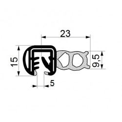 Tractor cab seal with sealing profile 23 mm and clamp profile 15 mm.