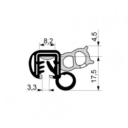 Tractor cab seal with sealing profile 18,4 mm and clamp profile 17,5 mm.