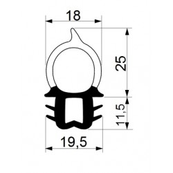 Tractor cab seal with sealing profile 25 mm and clamp profile 11,5 mm.