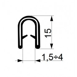 Tractor cab seal with clamp profile 15 mm.