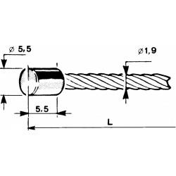 Cable with a cylindrical head Ø5,5x5,5mm - 1m
