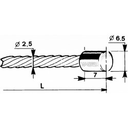 Cable with a cylindrical head Ø6,5x7mm - 1m