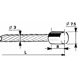 Cable with a cylindrical head Ø7,5x8mm - 3m