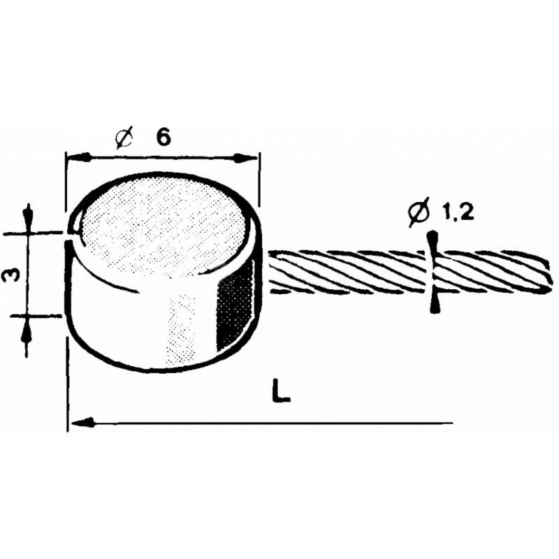 Gas line Ø1,2mm with a flat tip Ø6x3mm - 2,50m