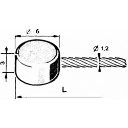 Gas line Ø1,6mm with a flat tip Ø6x3mm - 1m