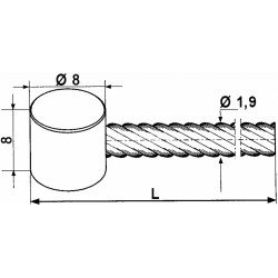 Linka z wałeczkiem Ø8mm - 2,5m