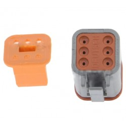 Lamp electrical counter connector, 6-pin, type Deutsch DT06-6S