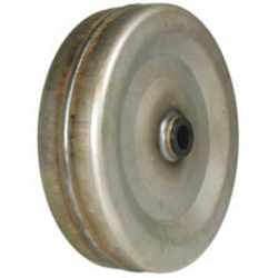 Smooth steel wheel with a self-lubricating plastic sleeve (nylon).